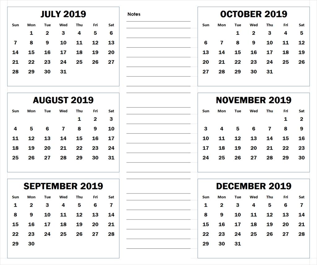 July To December 2019 Printable Calendar | 2019 Calendars July 6 2019 Calendar