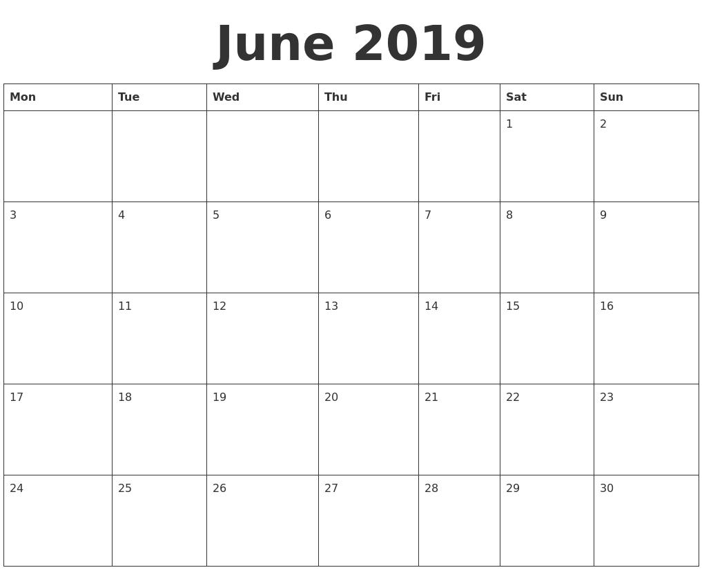 June 2019 Blank Calendar Template Calendar 2019 Empty