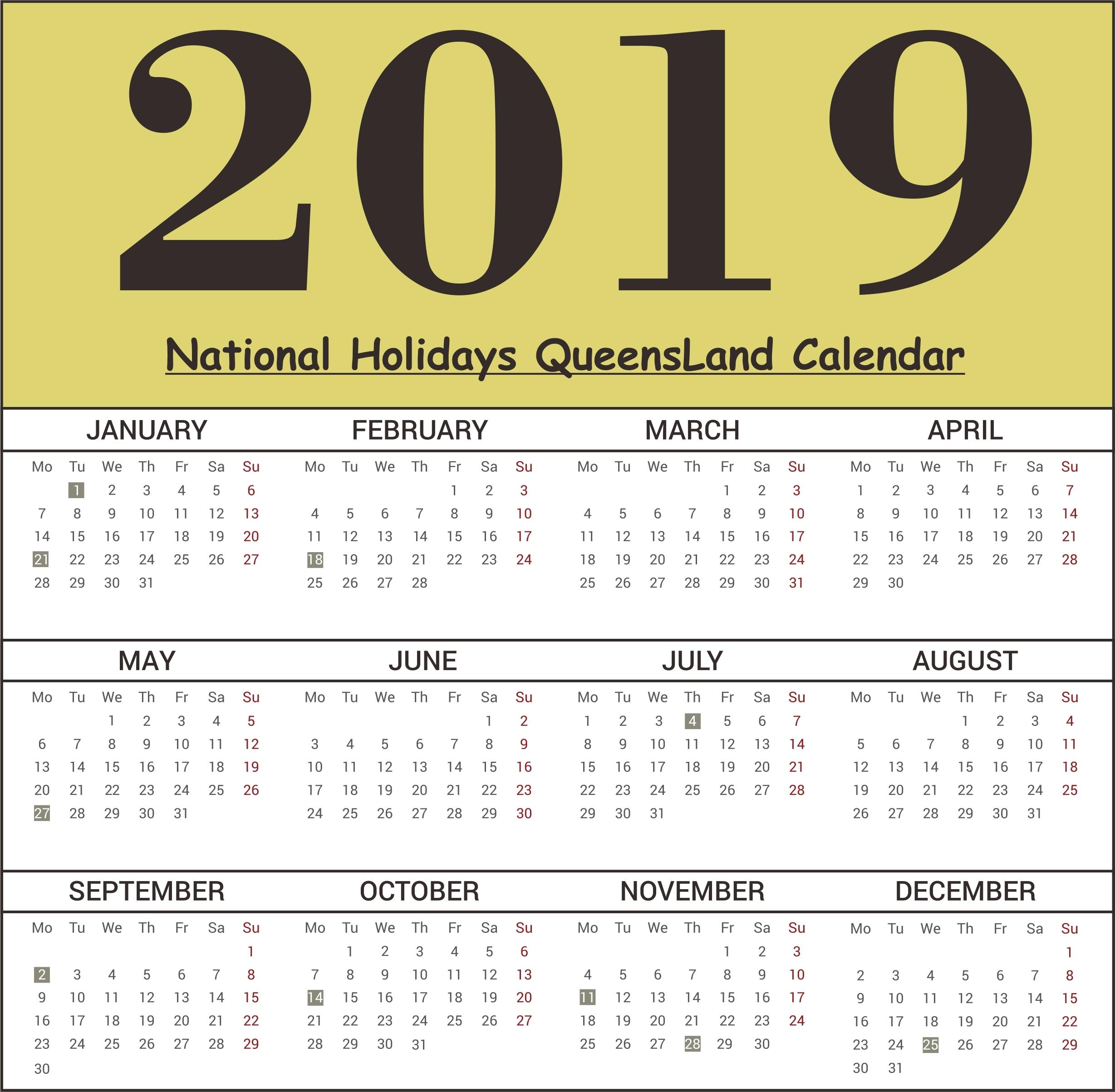 June 2019 Calendar Qld | Template Calendar Printable Calendar 2019 Qld