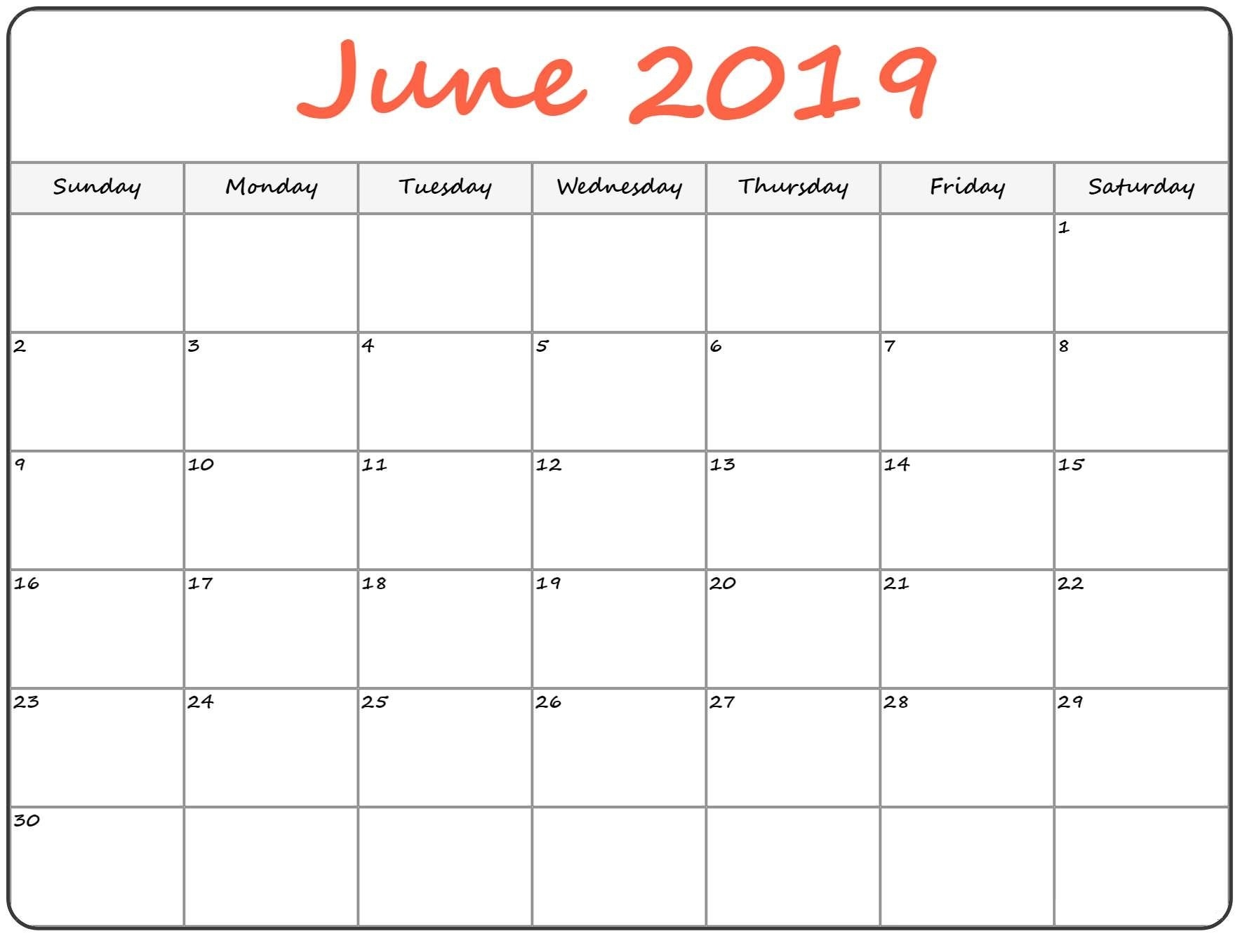 June 2019 Holiday Blank Calendar Download - Printable Calendar 2018 Calendar 2019 Monthly Printable With Holidays