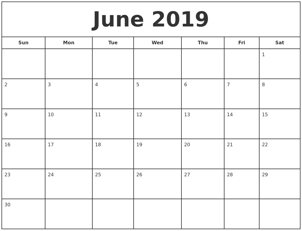June 2019 Print Free Calendar Calendar 2019 Calendarlabs