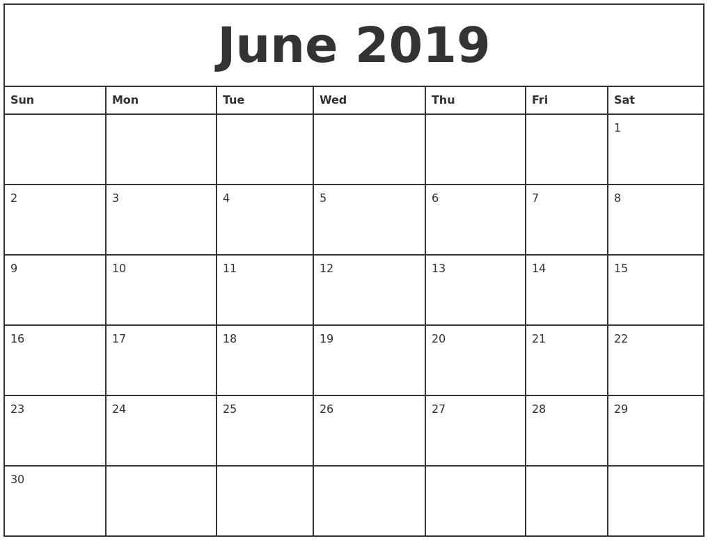 June 2019 Printable Monthly Calendar Calendar 2019 Printable Monthly
