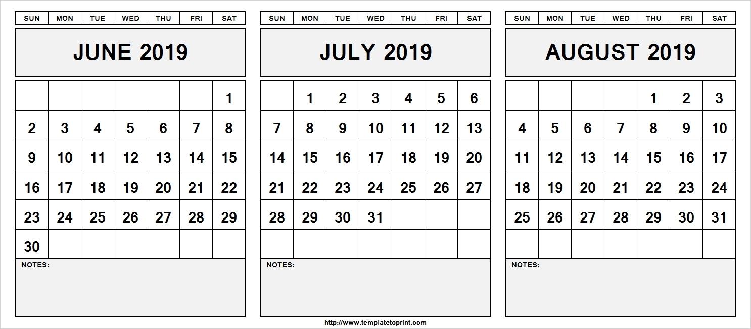 June July August 2019 Calendar | Template Calendar Printable Calendar 2019 June July August