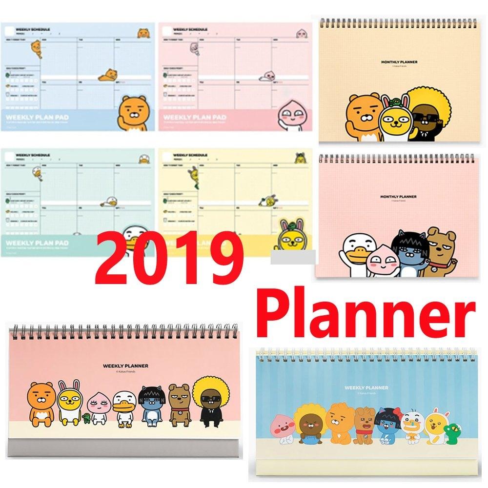[Kakao Friends]New 2019 Diary Calendar/weekly Planner/weekly Pad Calendar 2019 Qoo10