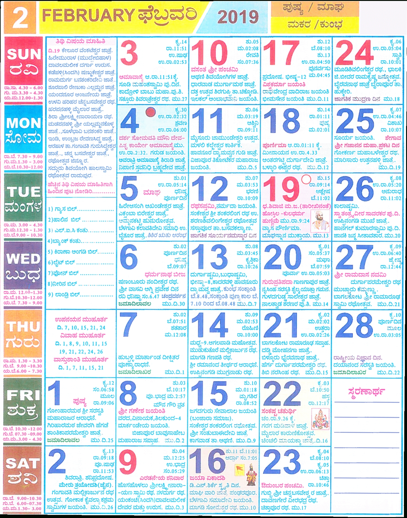 Kannada Calendar February 2019 | 2017Mobilecalendars Calendar 2019 Kannada