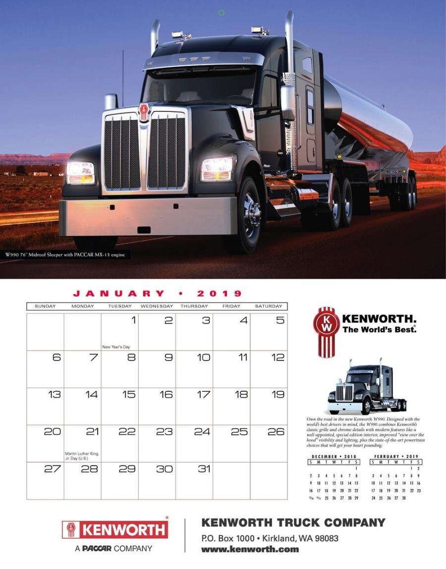 Kenworth 2019 Calendars Available For Purchase | Construction Calendar 2019 Purchase