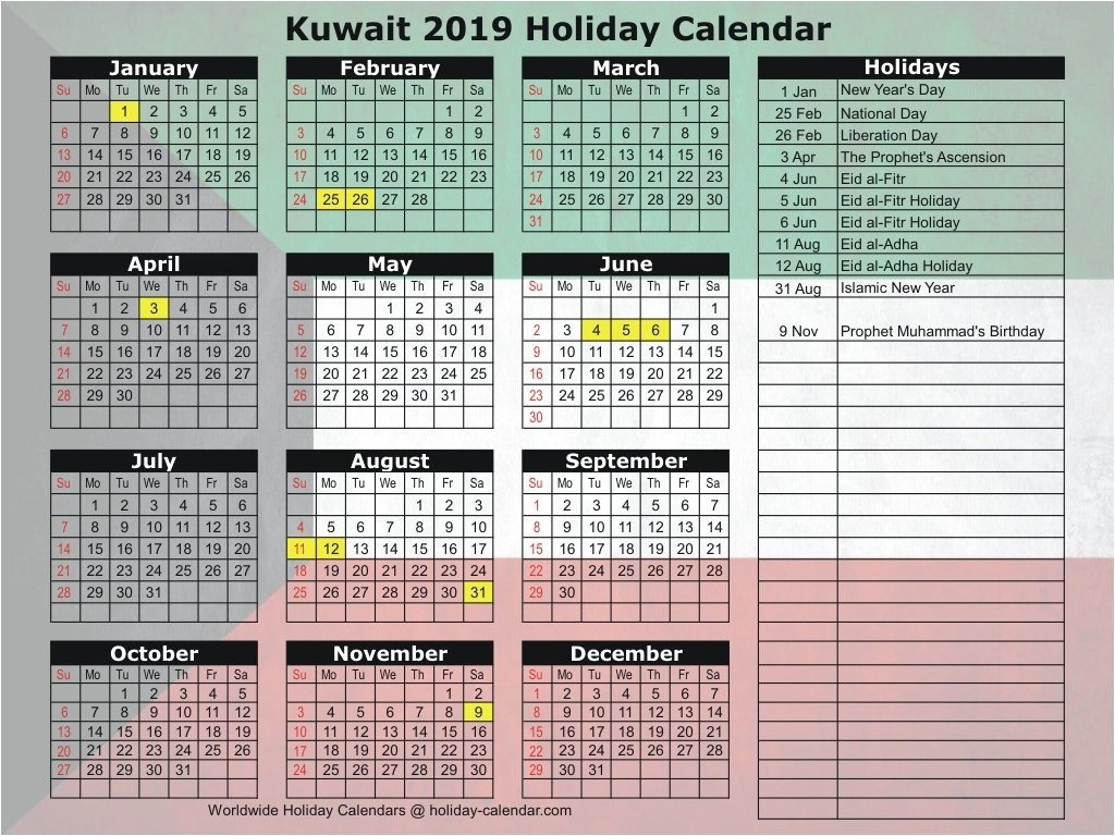 Kuwait 2019 / 2020 Holiday Calendar Calendar 2019 Kuwait