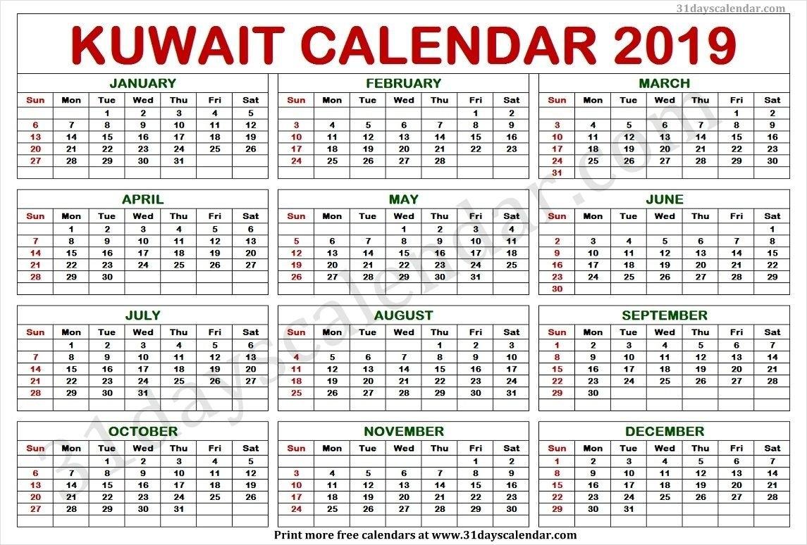 Kuwait Calendar 2019 | Kuwait Calendar 2019 | Calendar Calendar 2019 Kuwait