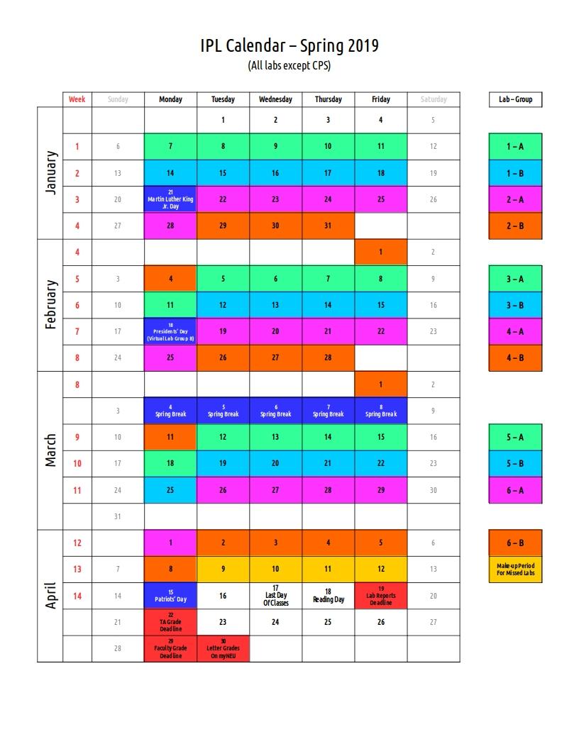Lab Calendar – Ipl Calendar 2019 Northeastern