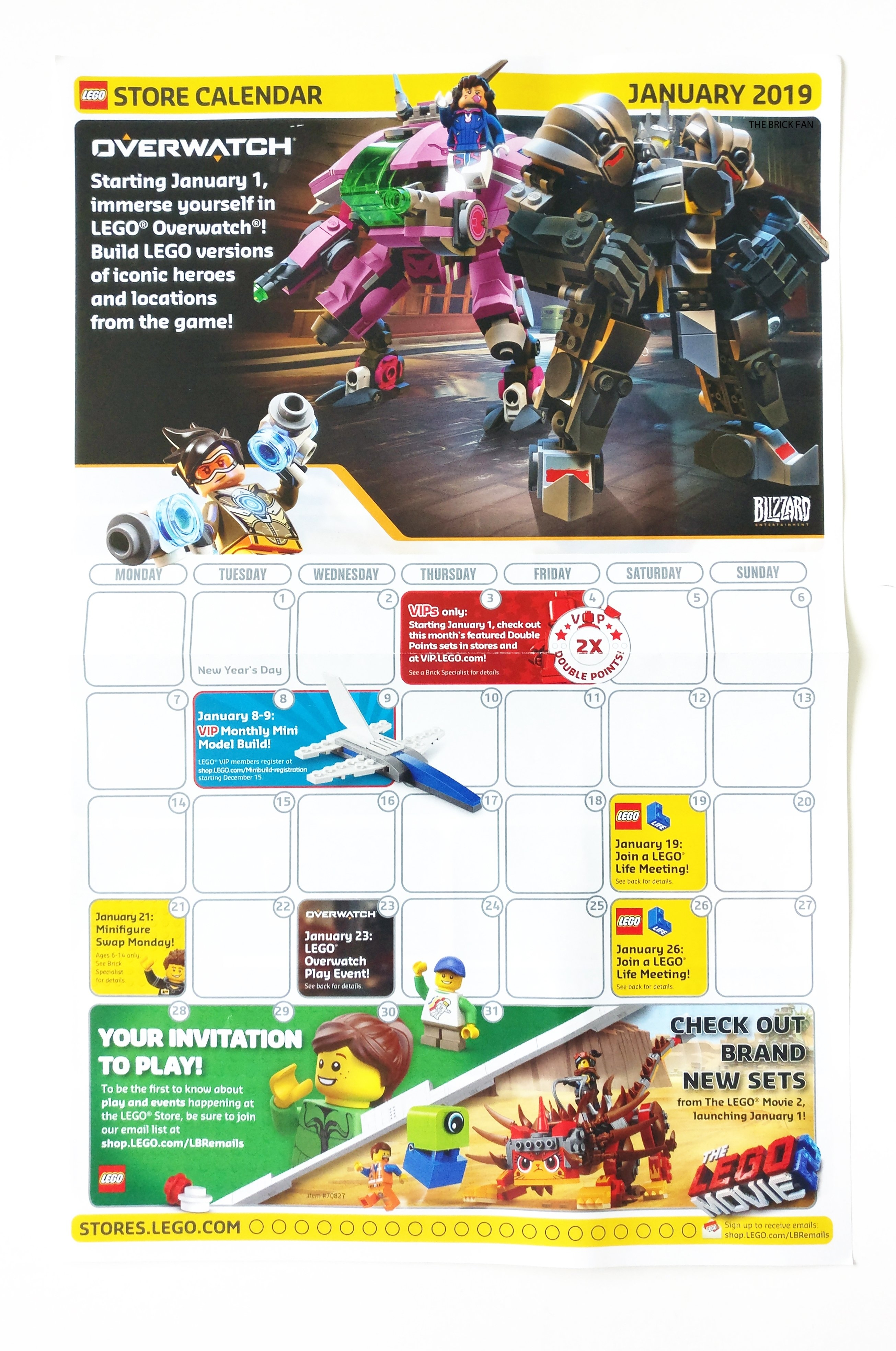 Lego January 2019 Store Calendar Promotions & Events - The Brick Fan Calendar 2019 Store