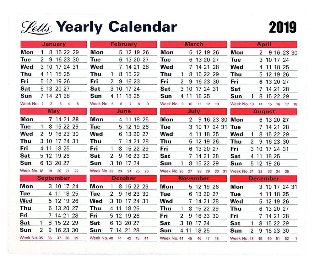 Letts 2019 Monthly Hardback Yearly Desk Calendar Planner Stand Up Letts Yearly Calendar 2019 5-Tyc