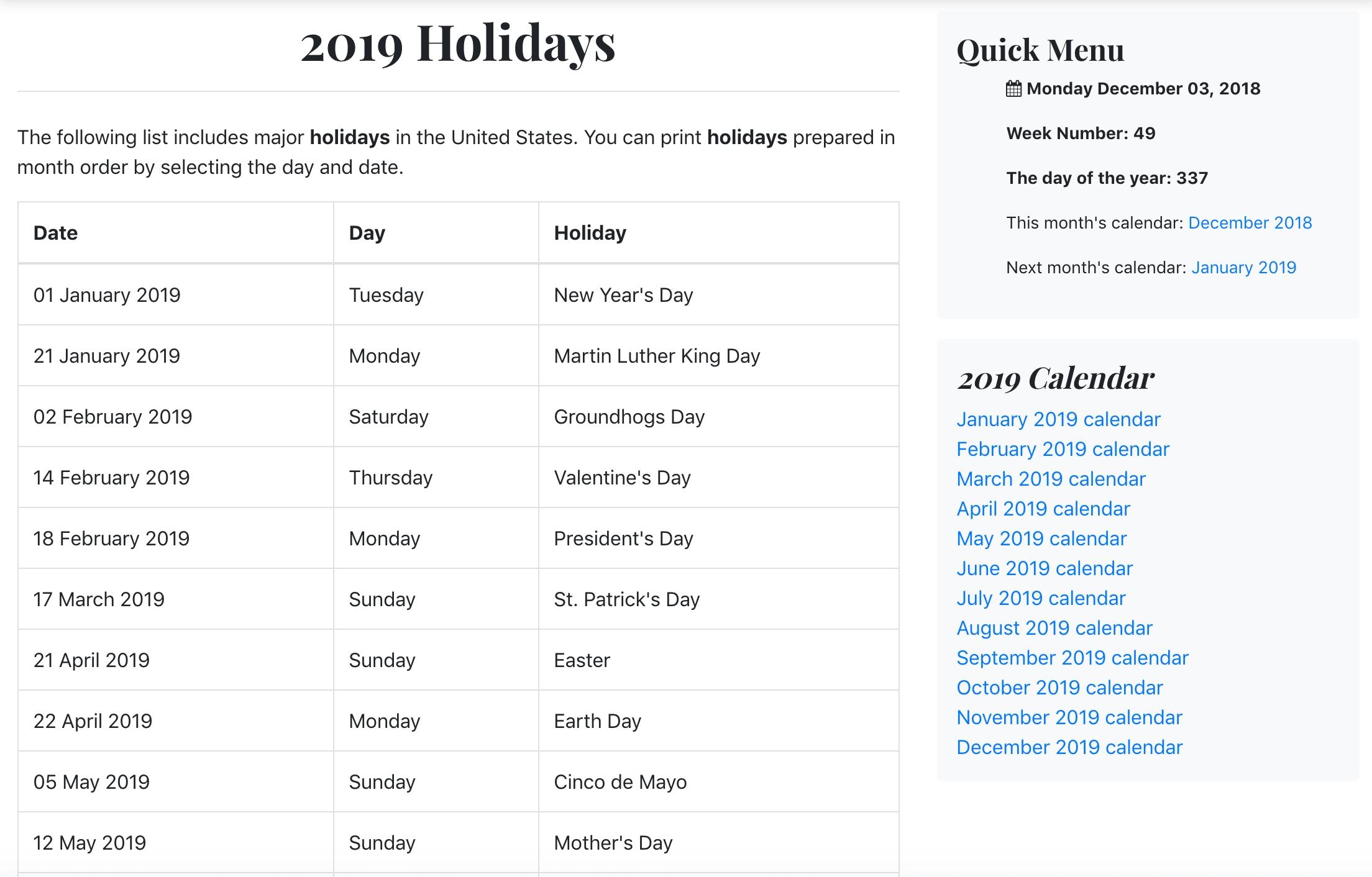 List Of 2019 Holidays - Luxe Calendar Calendar 02/2019