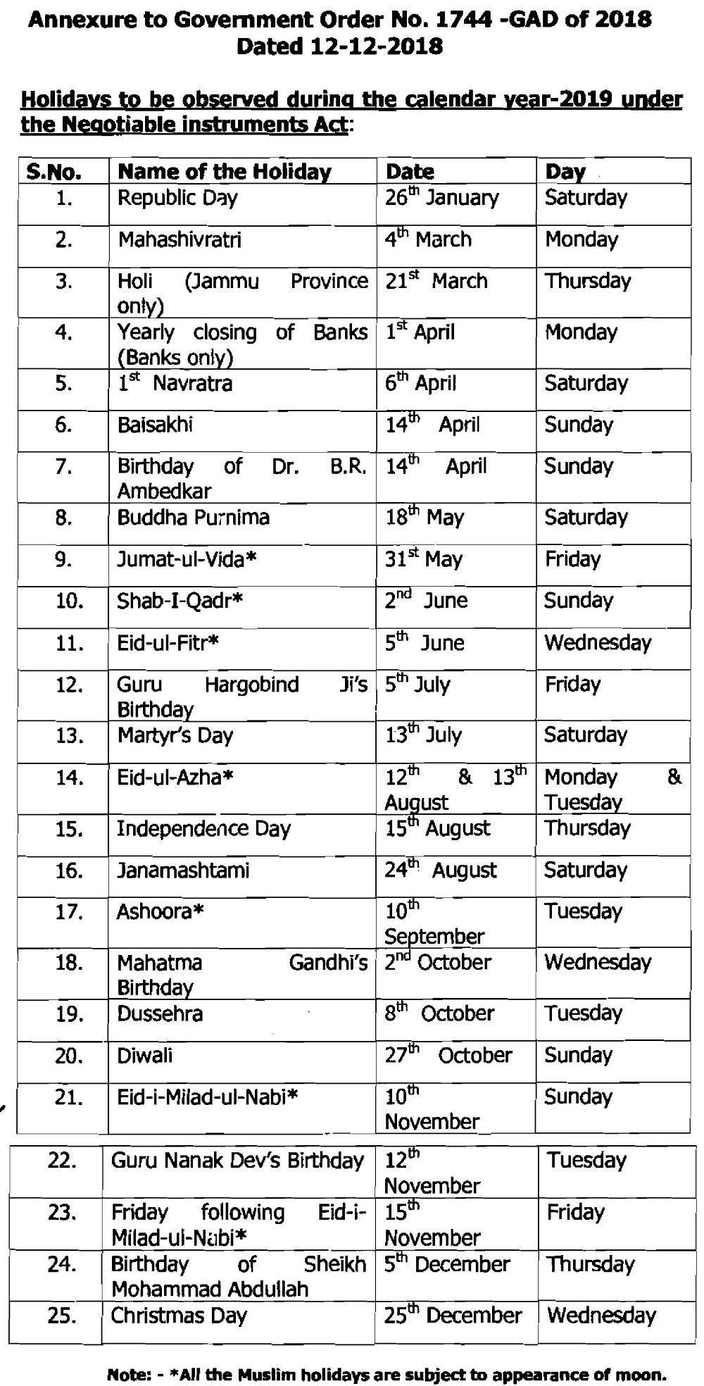List Of Holidays In J&k For Calendar Year 2019 | News & Updates J&k Calendar 2019