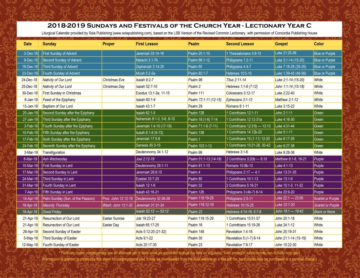Liturgical Calendar 2019 | Moneksy C&k Calendar 2019