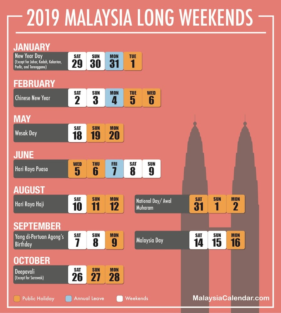 Long Weekend 2019 - Malaysia Calendar Calendar 2019 Long Weekend