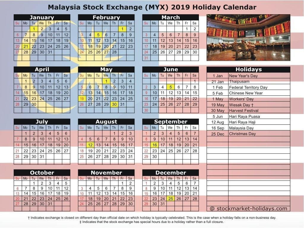 Malaysia Stock Exchange 2018 / 2019 Holidays : Myx Holidays 2018 / 2019 Calendar 2019 Raya