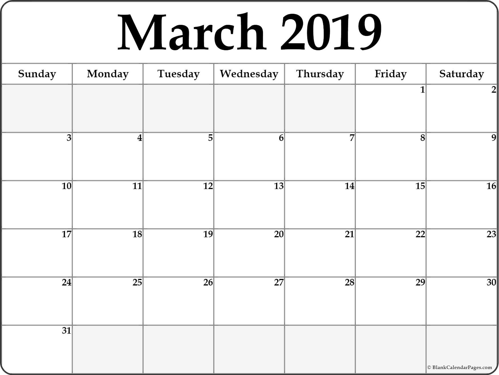 March 2019 Blank Calendar Collection. March 2 2019 Calendar