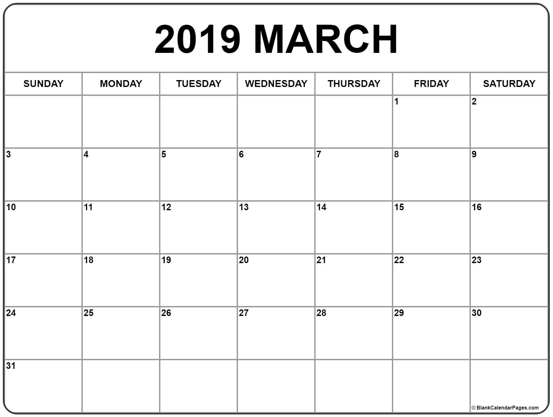 March 2019 Calendar | 56+ Templates Of 2019 Printable Calendars Calendar 2019 Print Free
