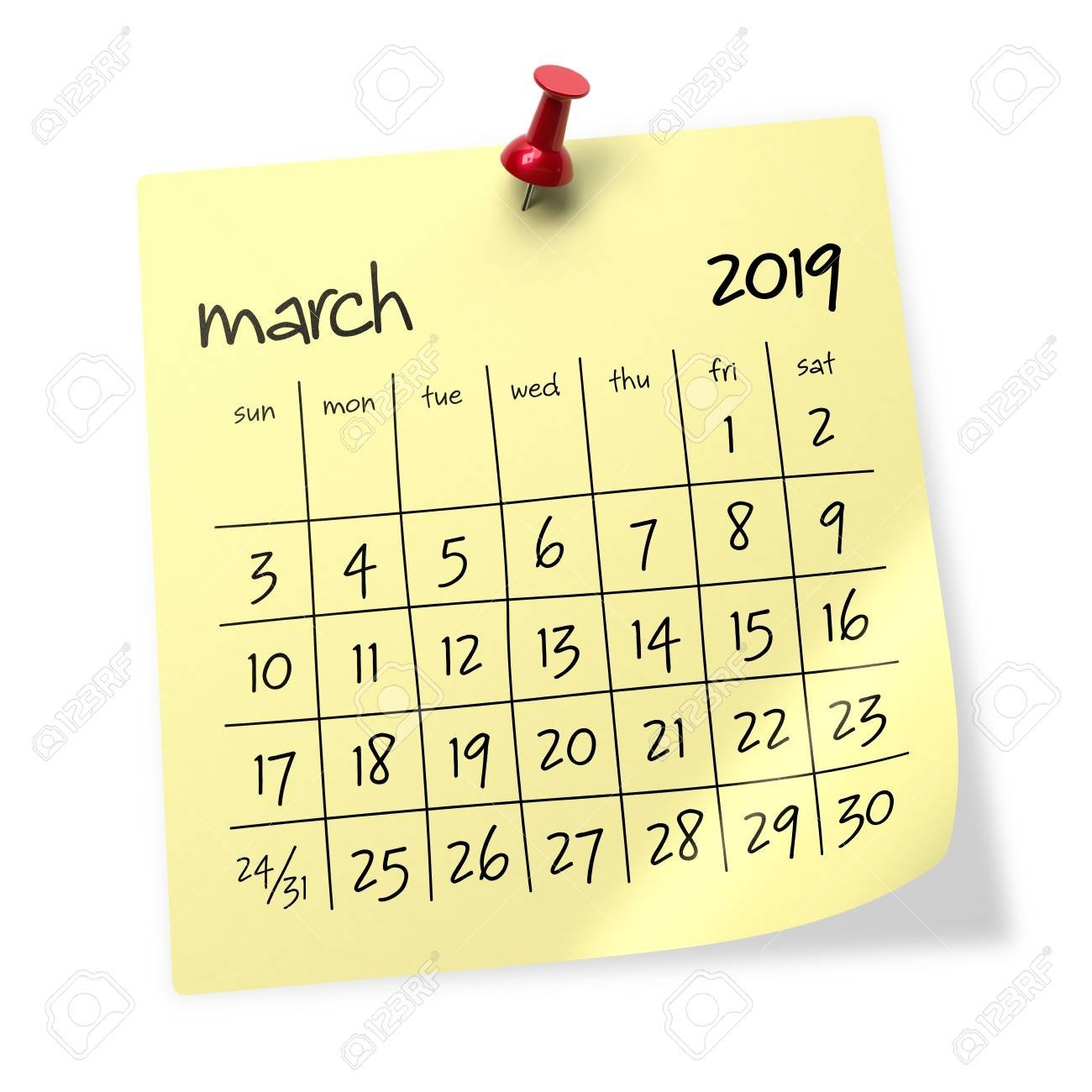 March 2019 Calendar. Isolated On White Background. 3D Illustration Calendar 2019 3D
