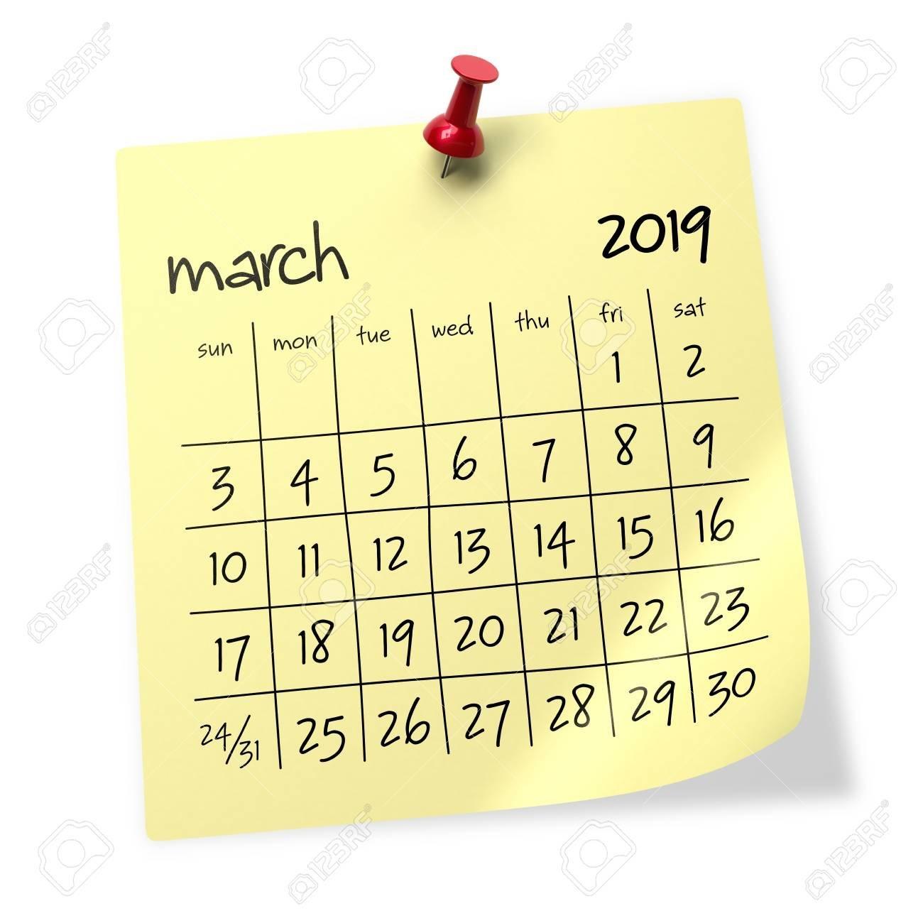 March 2019 Calendar. Isolated On White Background. 3D Illustration Calendar 2019 3D