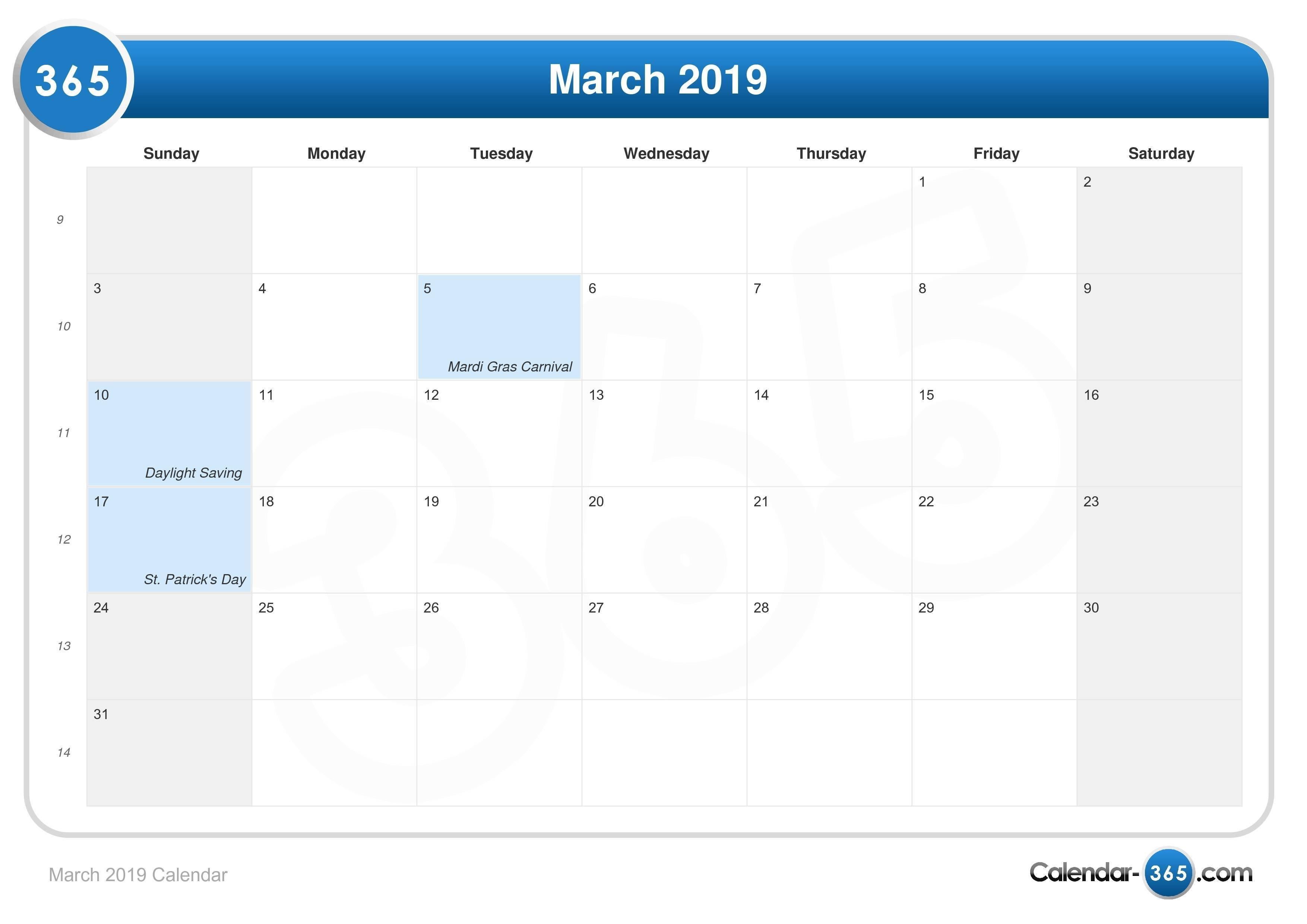 March 2019 Calendar March 6 2019 Calendar