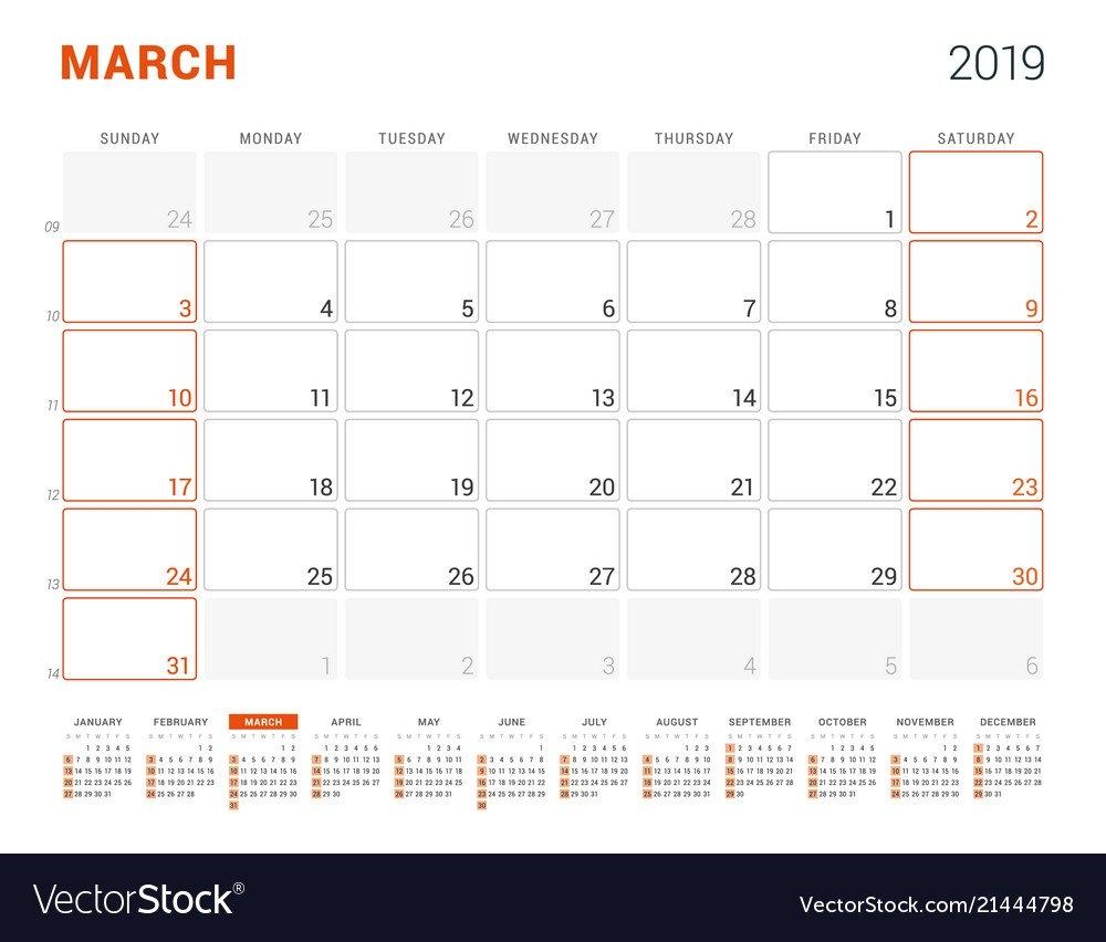 March 2019 Calendar Planner For 2019 Year Design Vector Image March 9 2019 Calendar