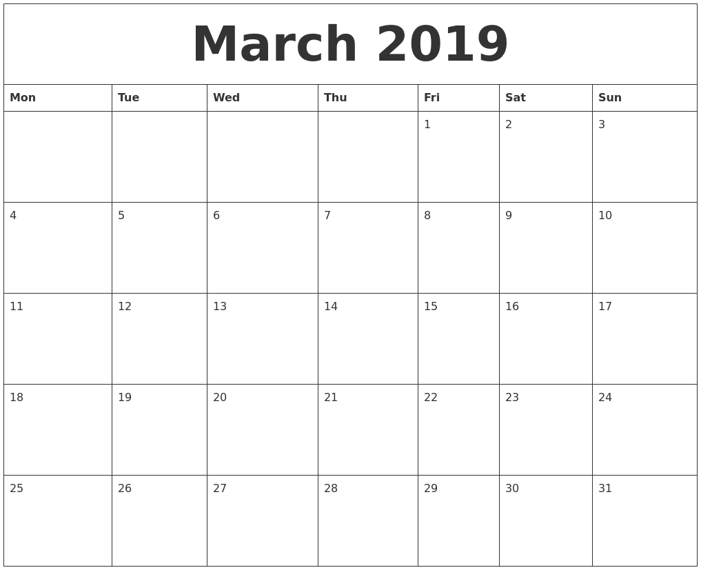 March 2019 Calendar Printable – Get March 2019 Printable Calendar Calendar 2019 Excel Germany