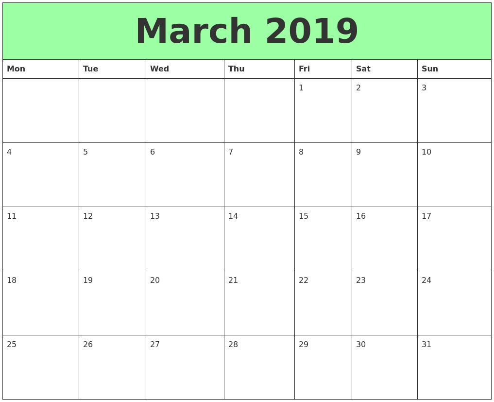 March 2019 Calendar Printable – Get March 2019 Printable Calendar Calendar 2019 Excel Starting Monday