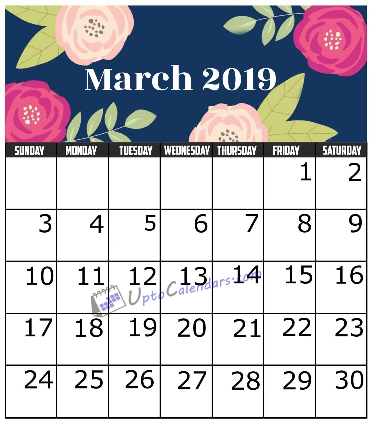 March 2019 Calendar Printable Template With Holidays Pdf Word Excel March 9 2019 Calendar