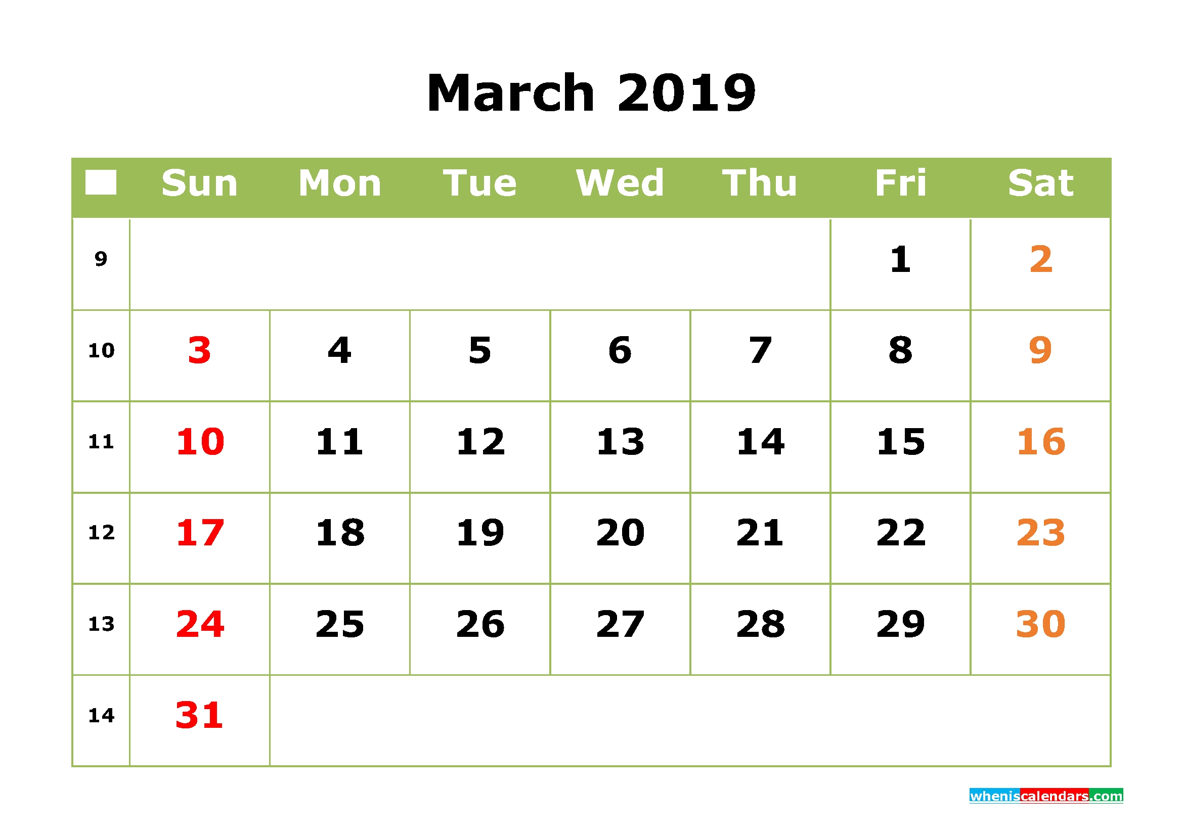 March 2019 Calendar With Week Numbers Printable As Pdf And Image Calendar 2019 Png