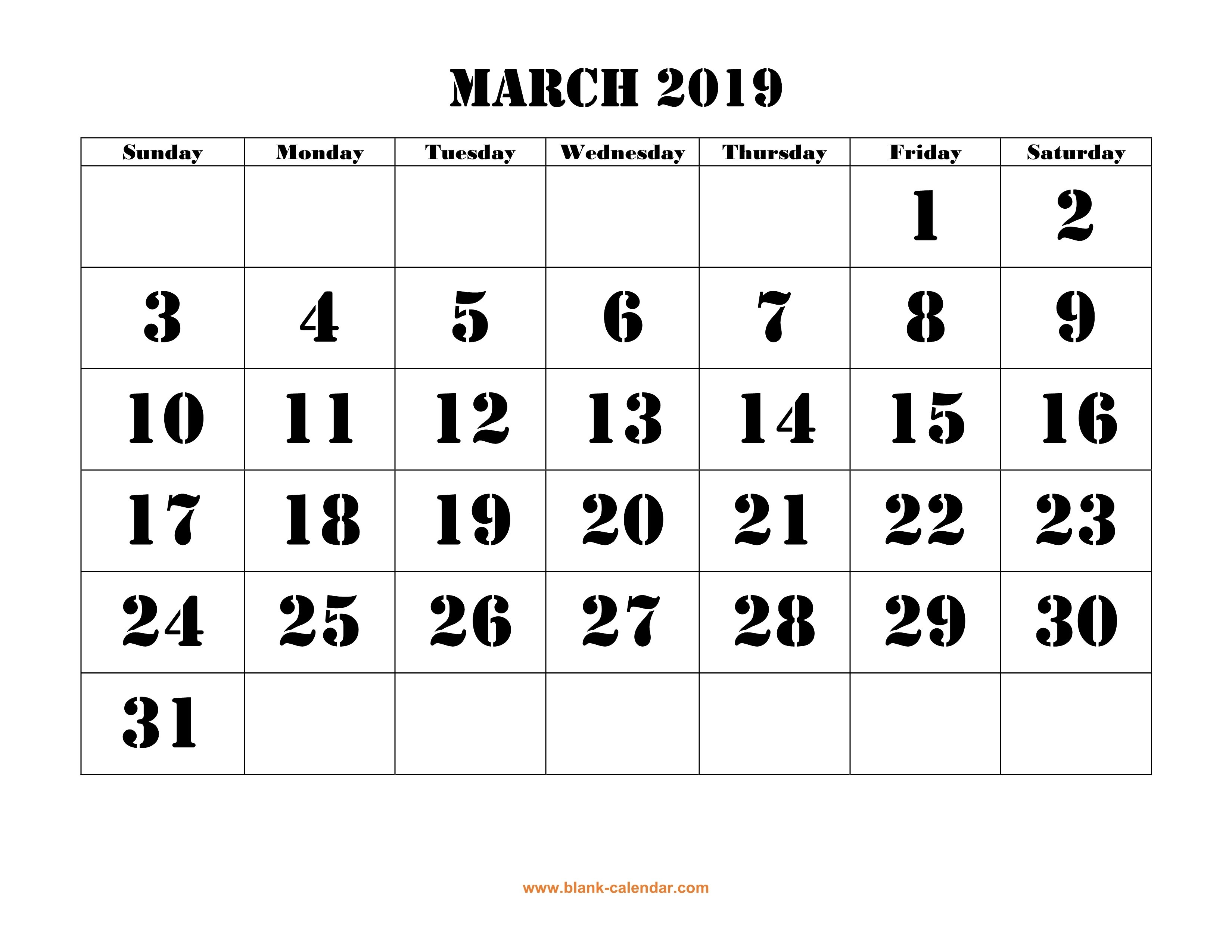 March 2019 Printable Calendar | Free Download Monthly Calendar Templates Calendar 2019 Large Print