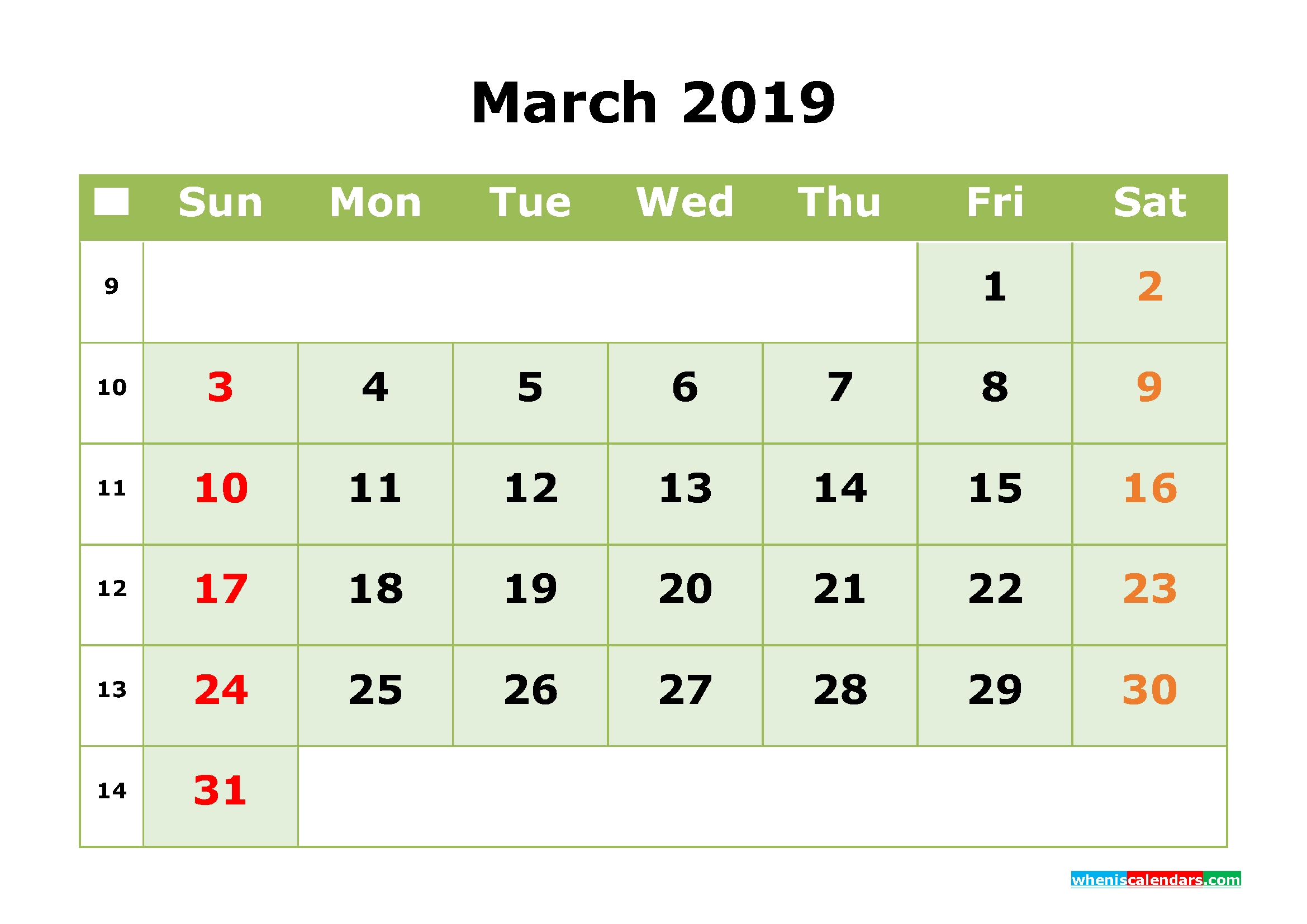 March 2019 Printable Calendar Monthmonth Calendar Template Calendar 3/2019