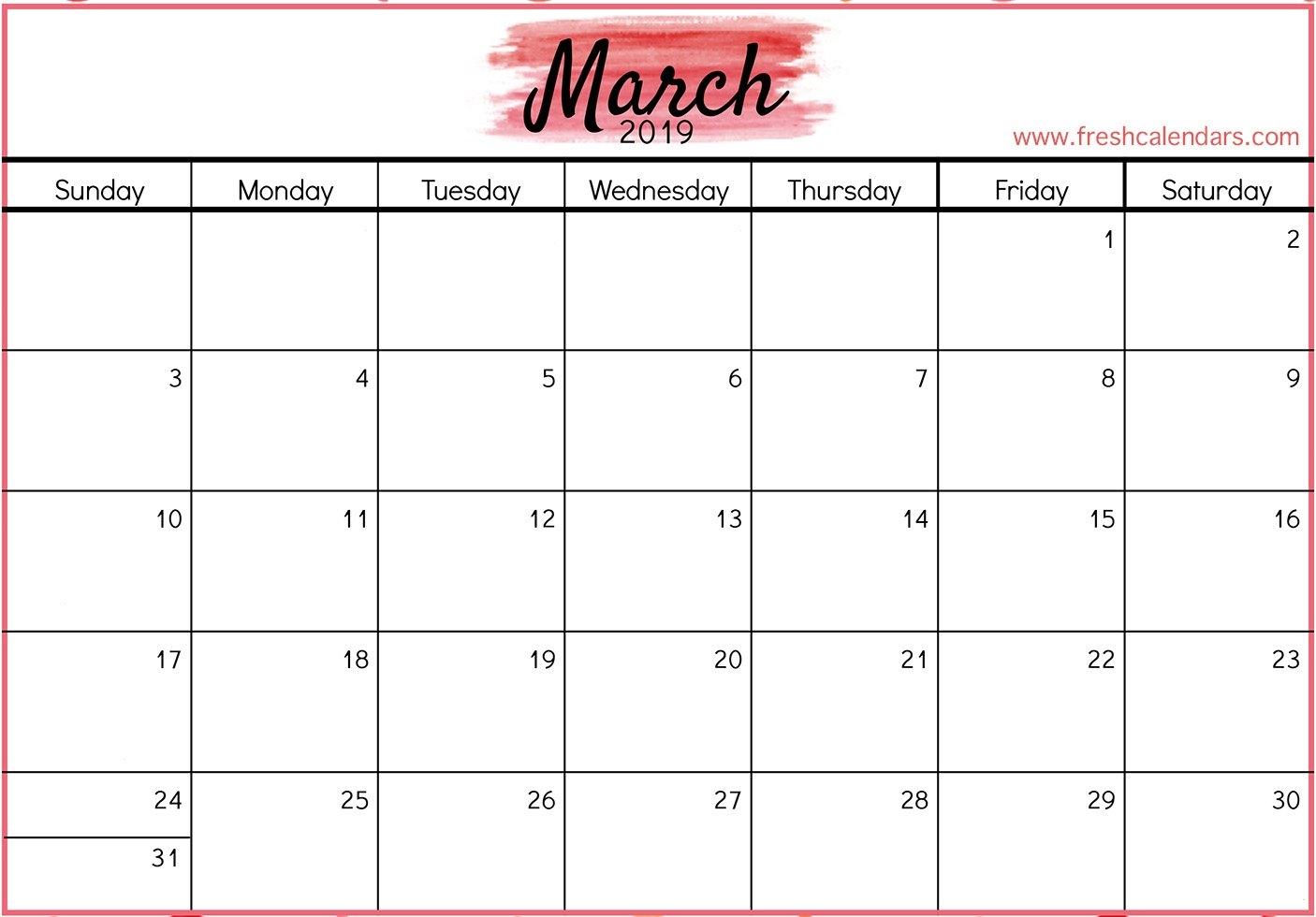 March 2019 Printable Calendars - Fresh Calendars Calendar Of 2019 March