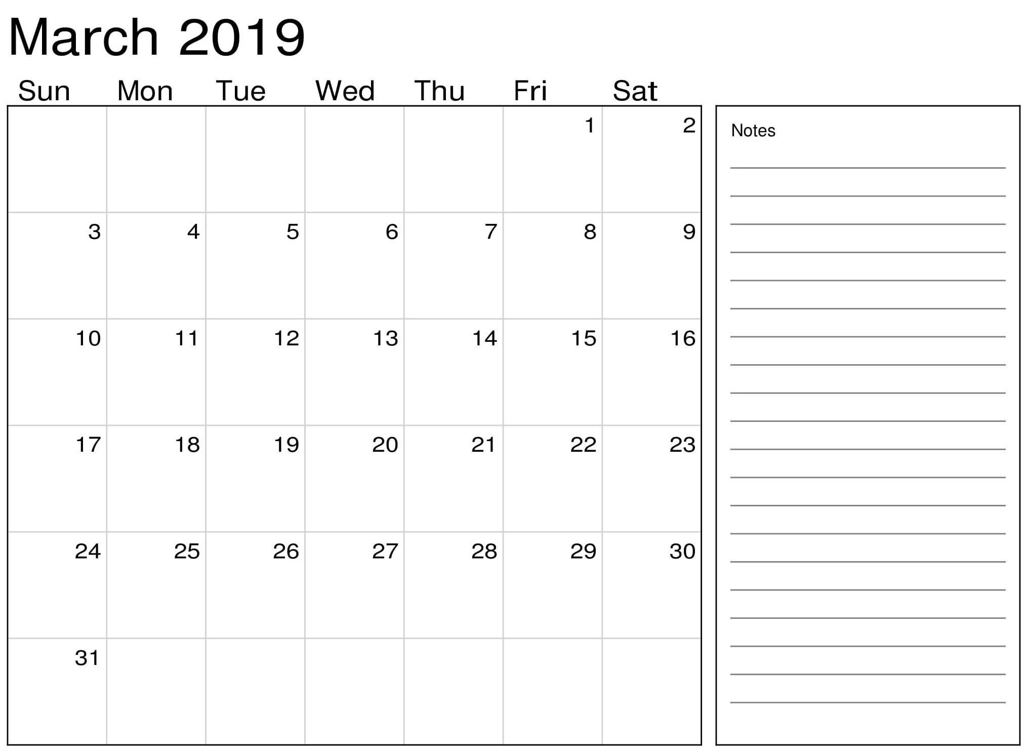 March Calendar 2019 With Notes - Printable Calendar Templates Calendar 2019 Notes