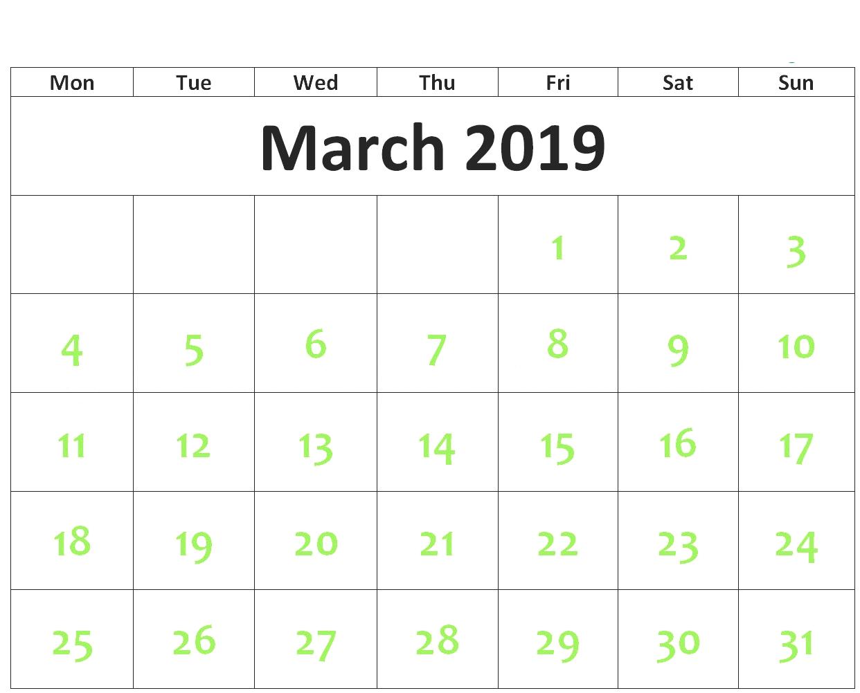 March Calendar For 2019 - 2018 Printable Calendar Store March 4 2019 Calendar