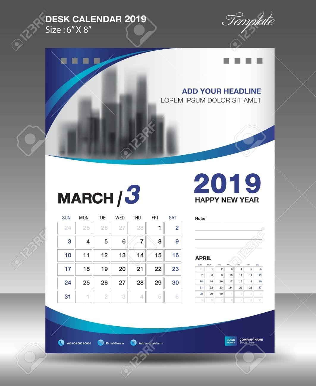 March Desk Calendar 2019 Template Flyer Design Vector Illustration Calendar 2019 Design
