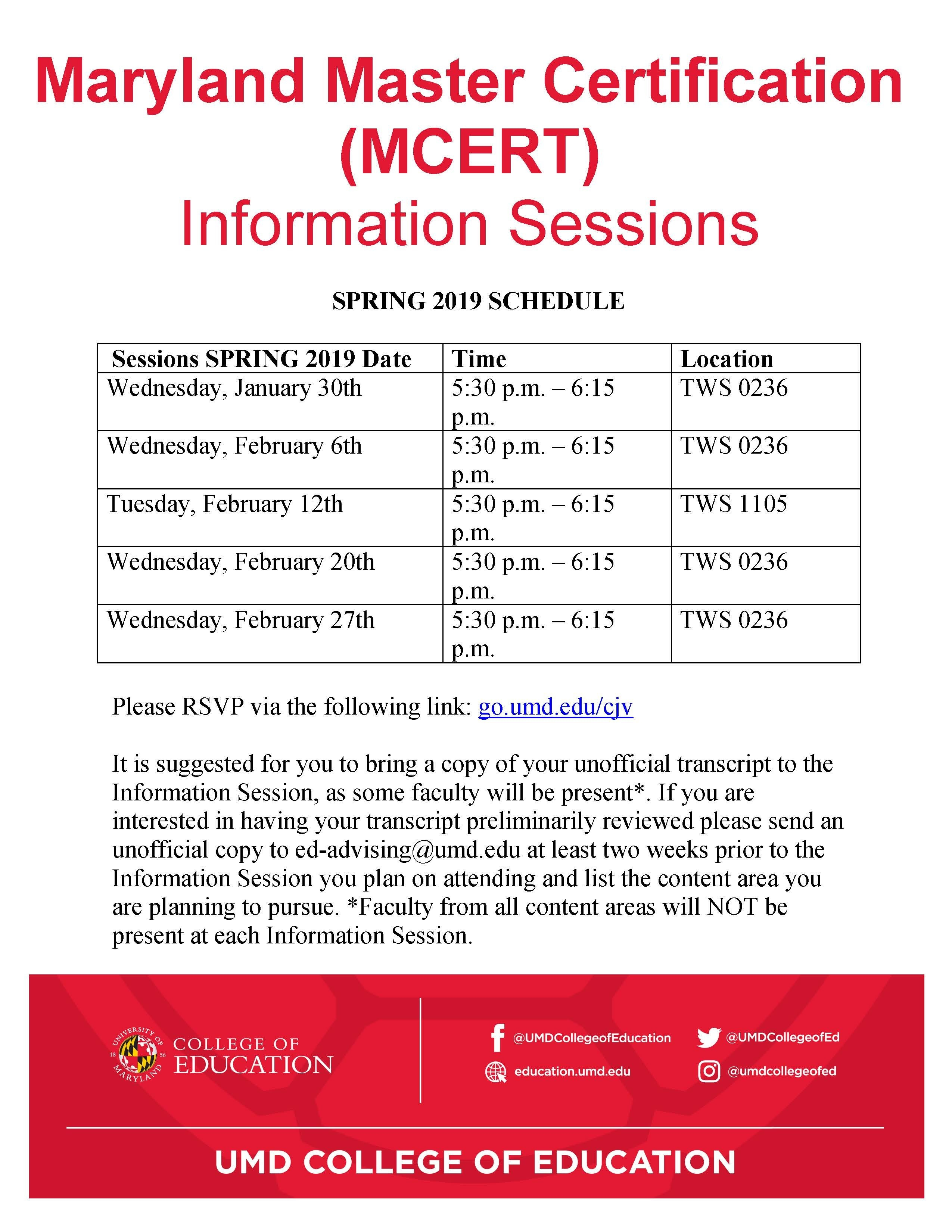 Maryland Master Certification (Mcert) Information Sessions | Umd Calendar 2019 Umd