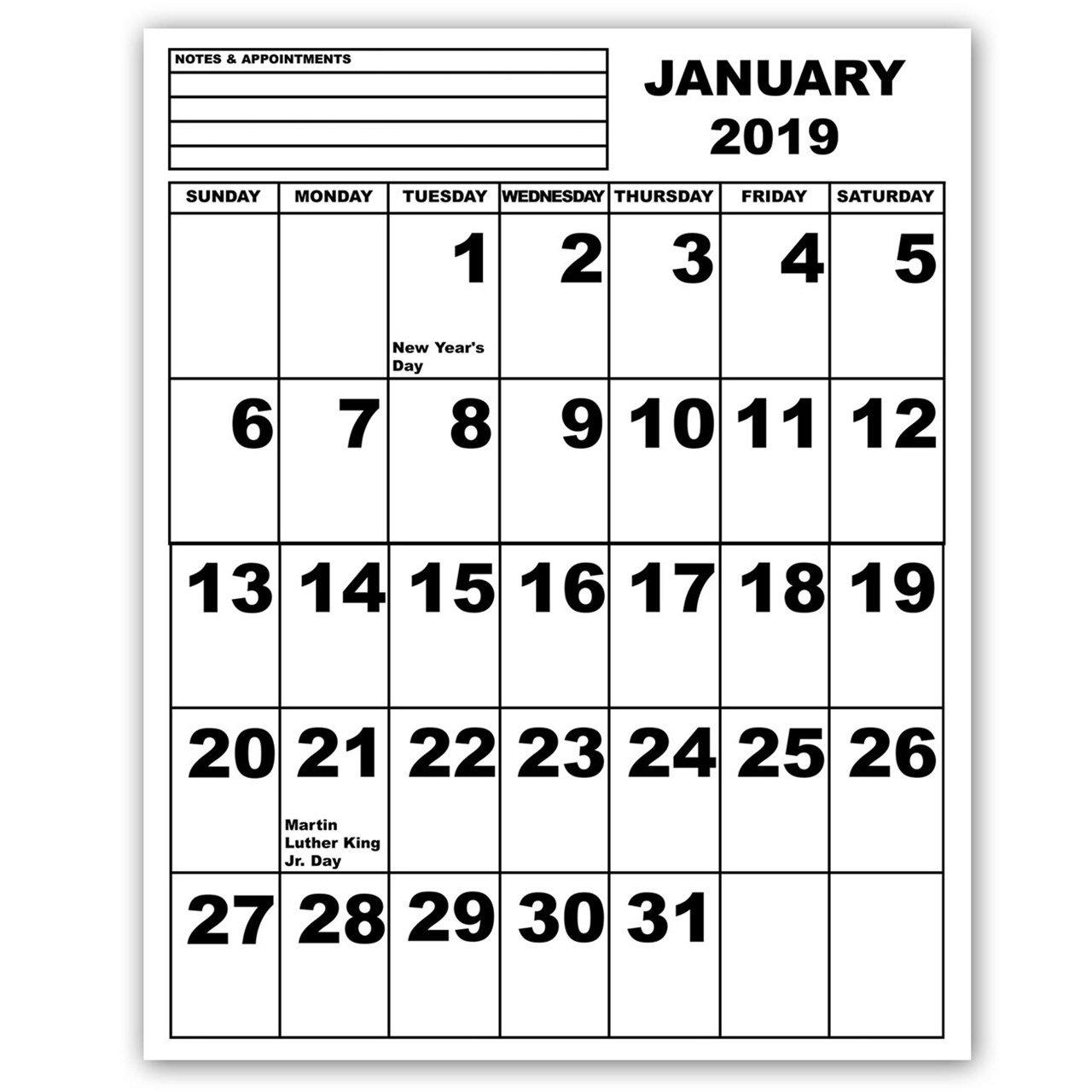 Maxiaids | Jumbo Print Calendar - 2019 Calendar 2019 To Print
