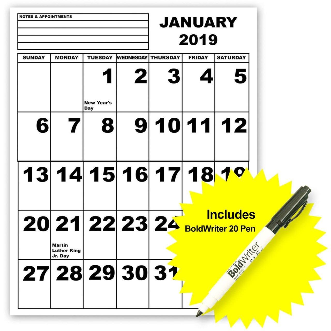 Maxiaids | Jumbo Print Calendar - 2019 With Boldwriter 20 Pen Calendar 2019 20
