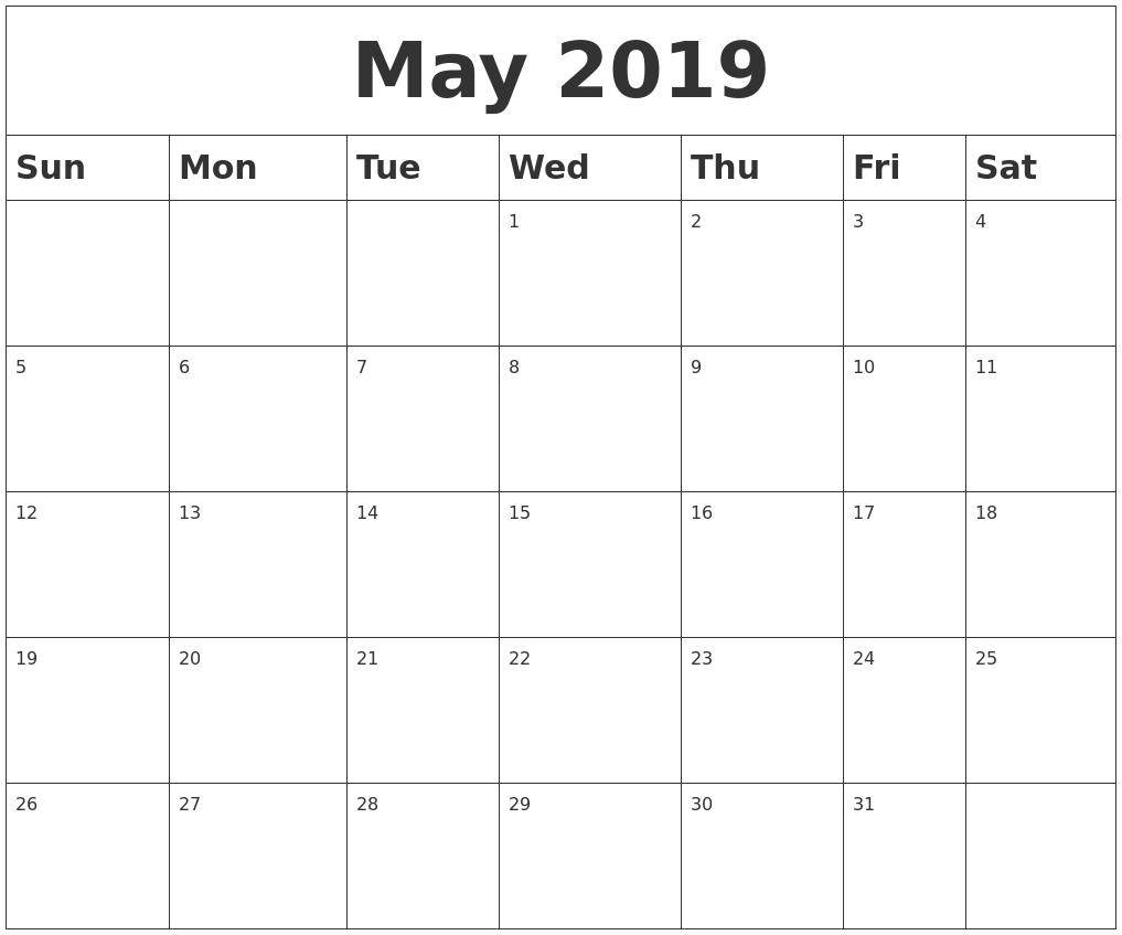 May 2019 Blank Calendar Calendar 2019 Empty