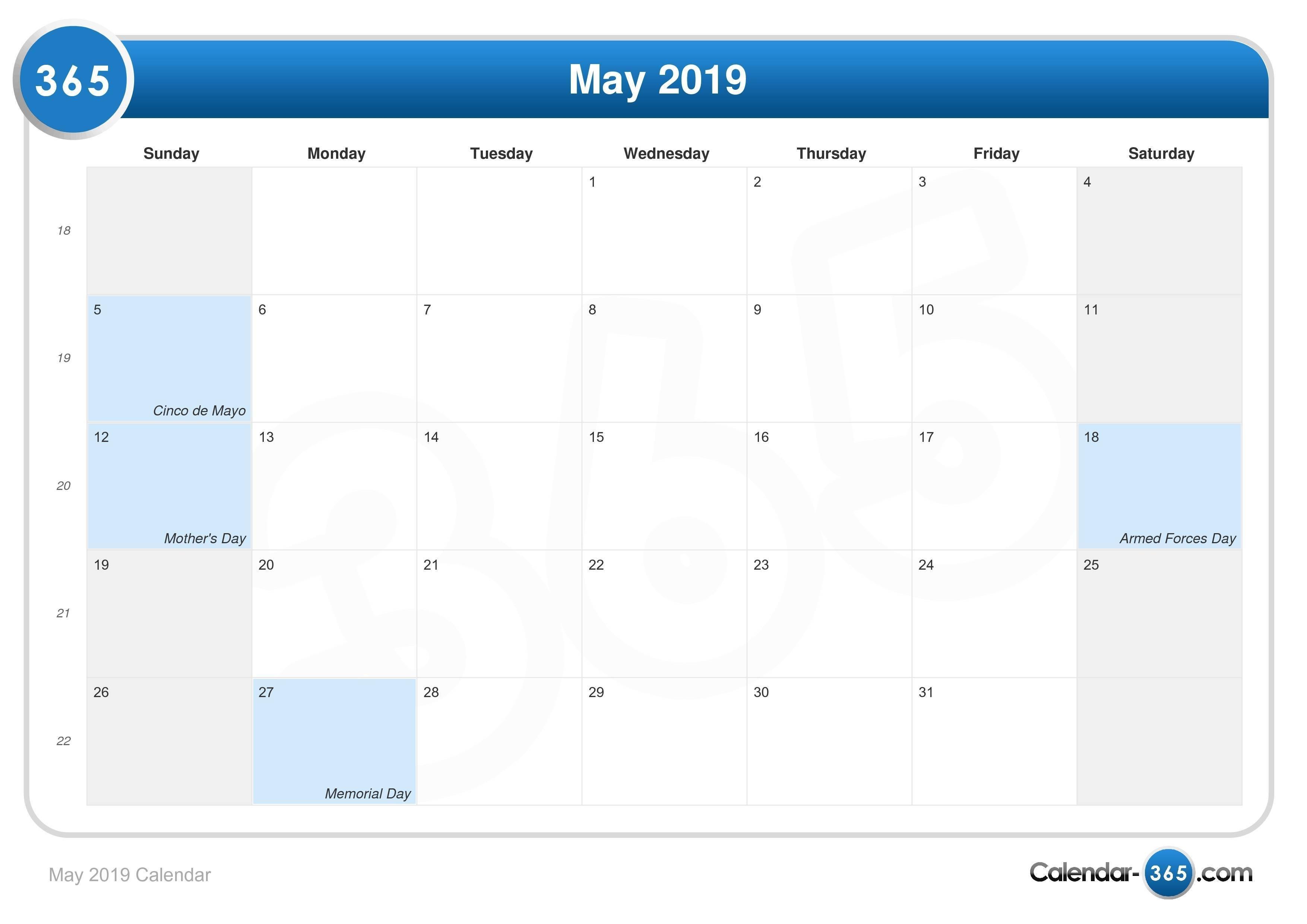 May 2019 Calendar 9/2019 Calendar
