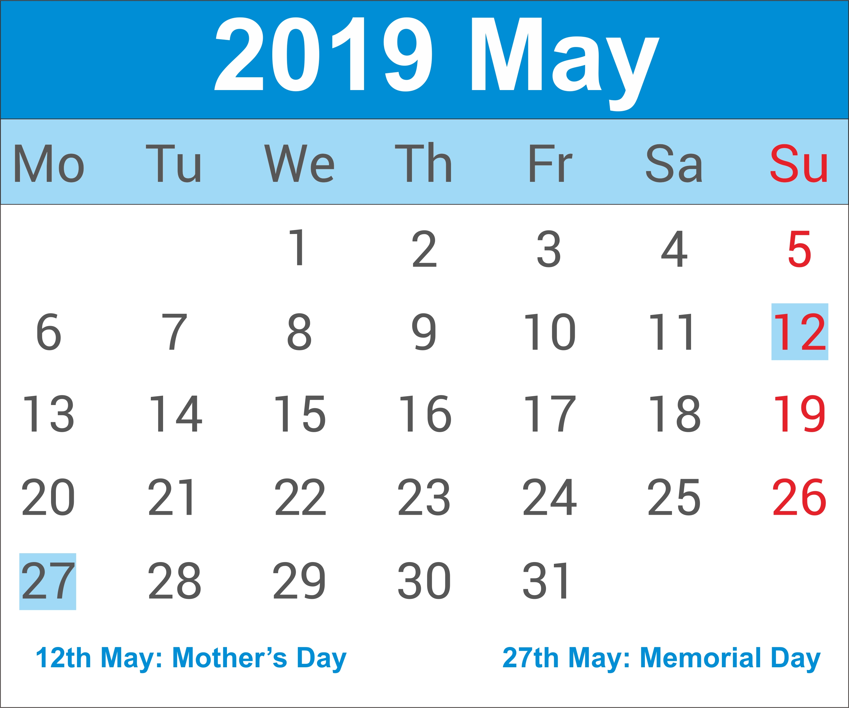 May 2019 Calendar | May Calendar 2019, May 2019 Printable Calendar May 9 2019 Calendar