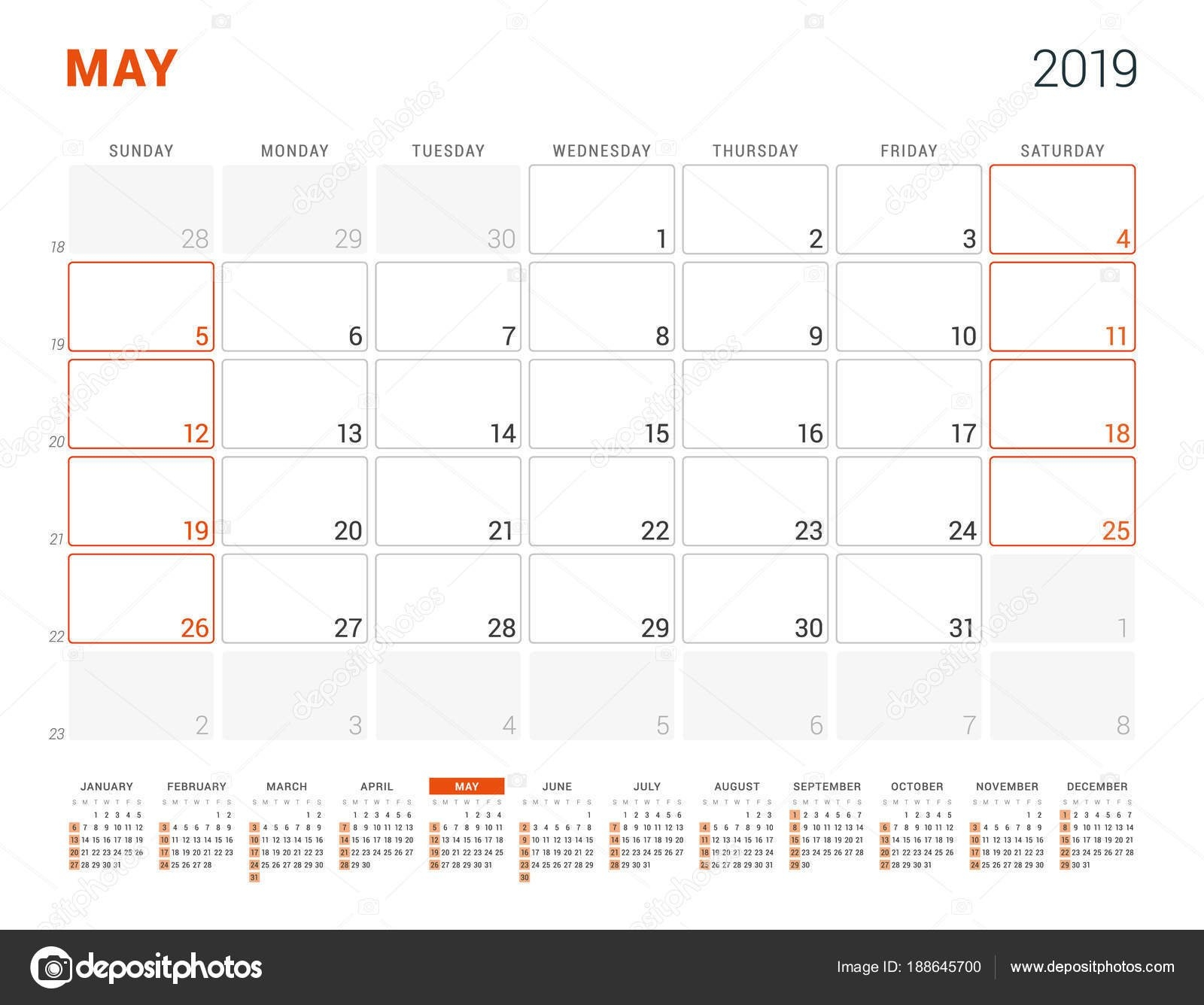 May 2019. Calendar Planner For 2019 Year. Vector Design Print May 6 2019 Calendar