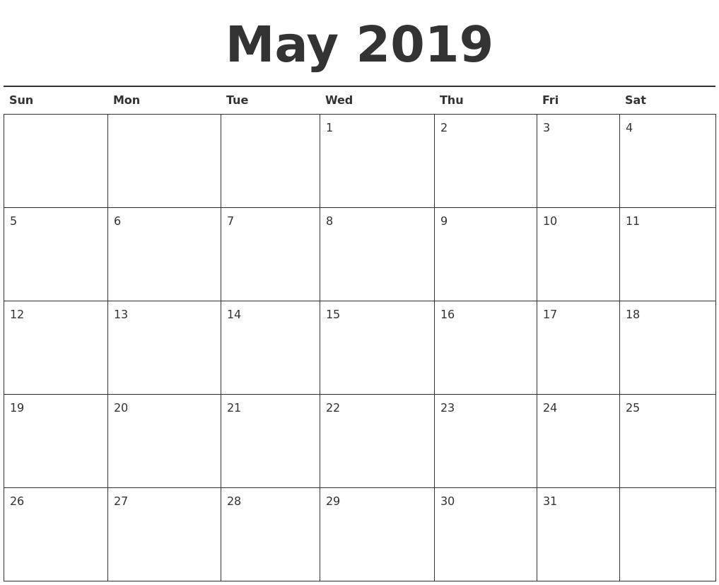 May 2019 Calendar Printable May 1 2019 Calendar