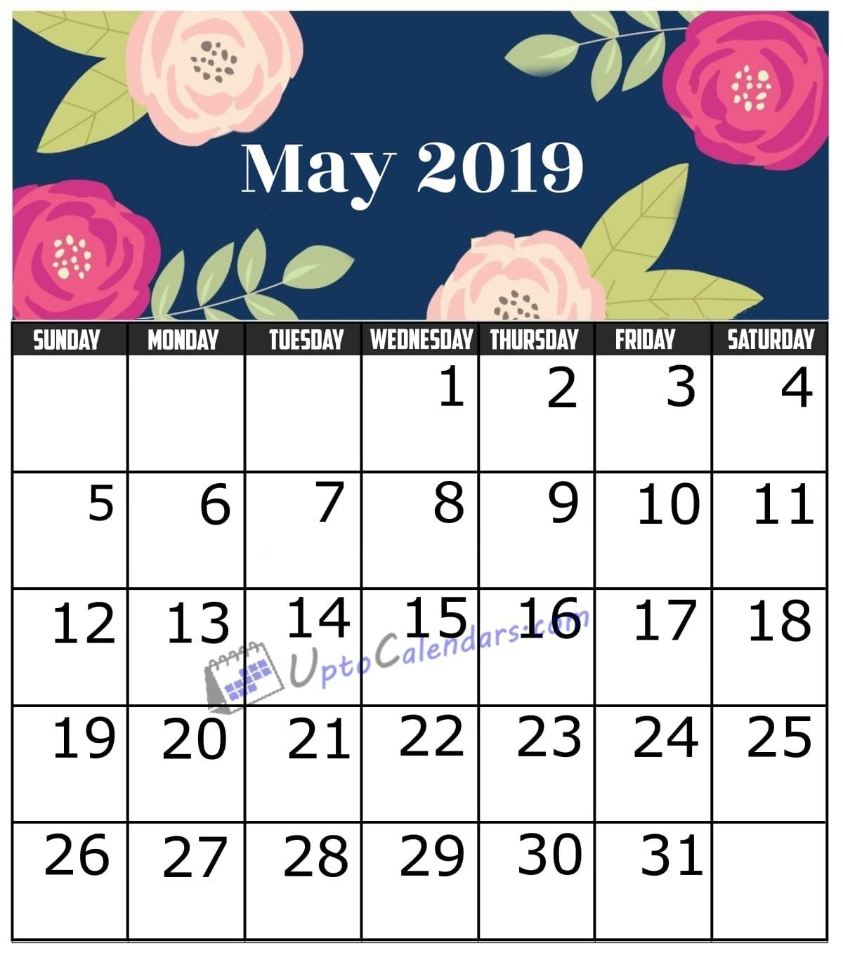 May 2019 Calendar Printable Template With Holidays Pdf Word Excel May 5 2019 Calendar