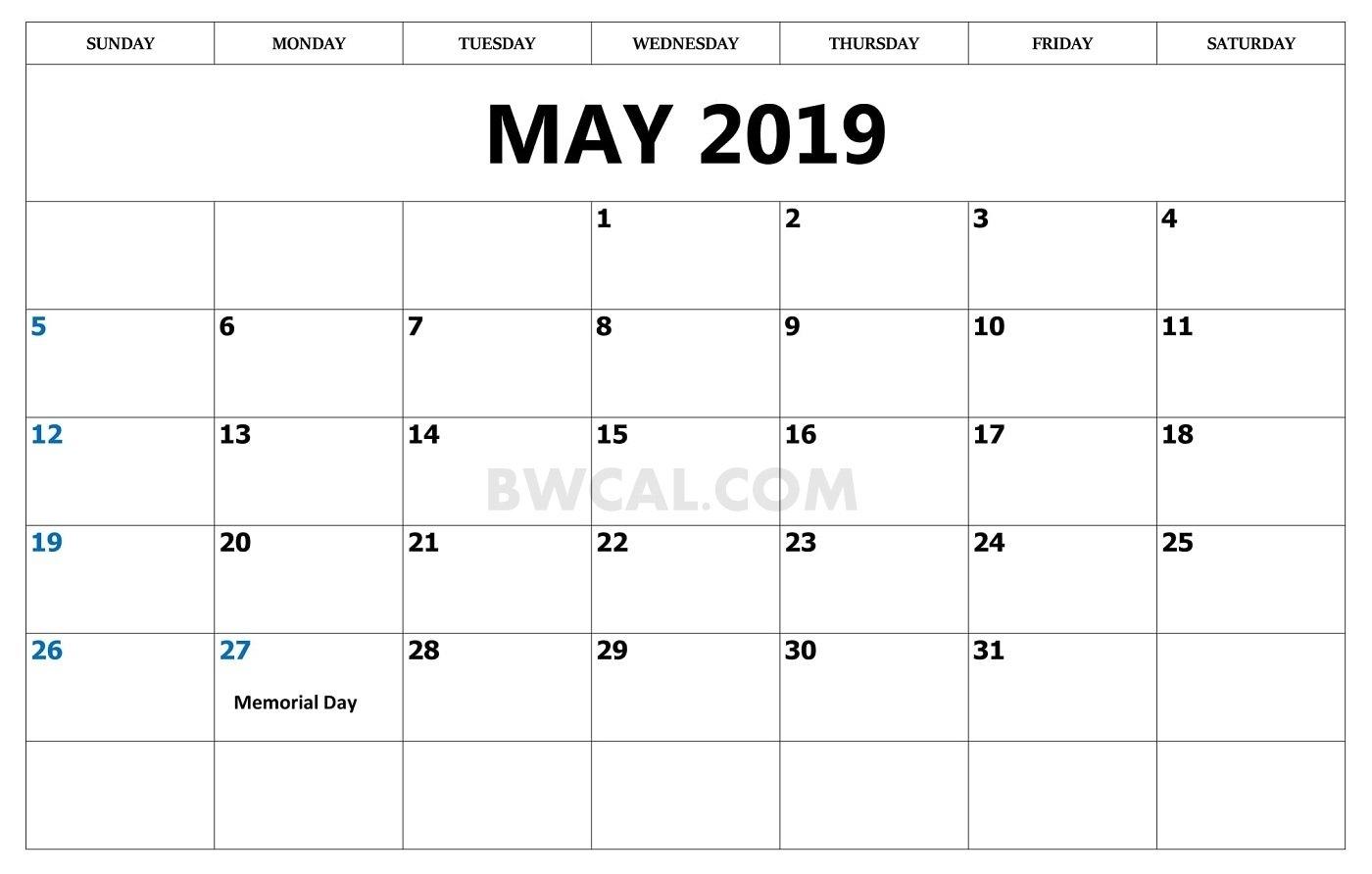 May 2019 Calendar With Holiday – Free Calendar Printable [2018, 2019 Calendar May 3 2019