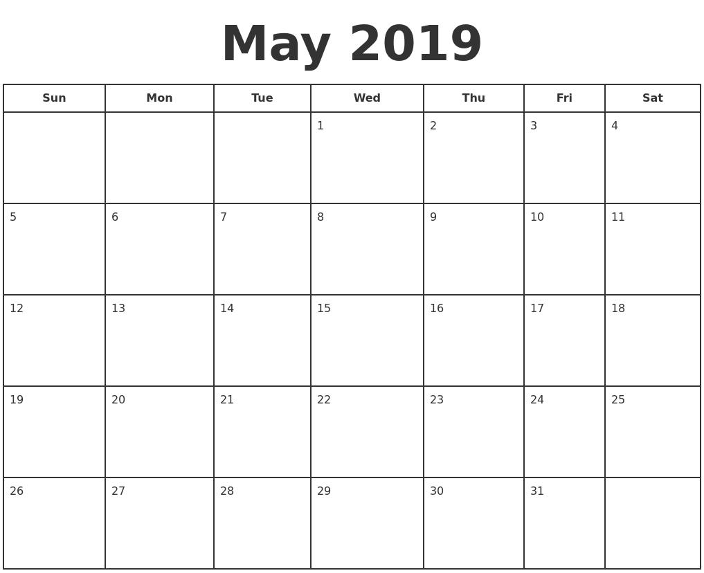 May 2019 Print A Calendar Calendar 2019 To Print