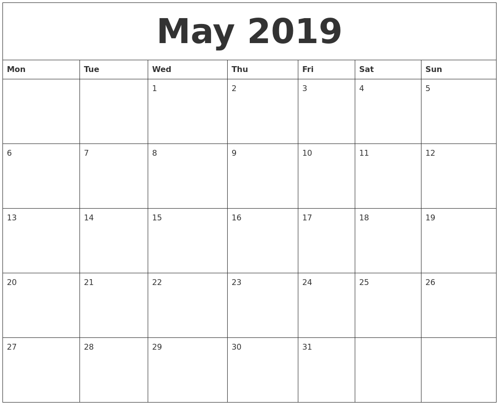 May 2019 Printable Calander Calendar May 4 2019
