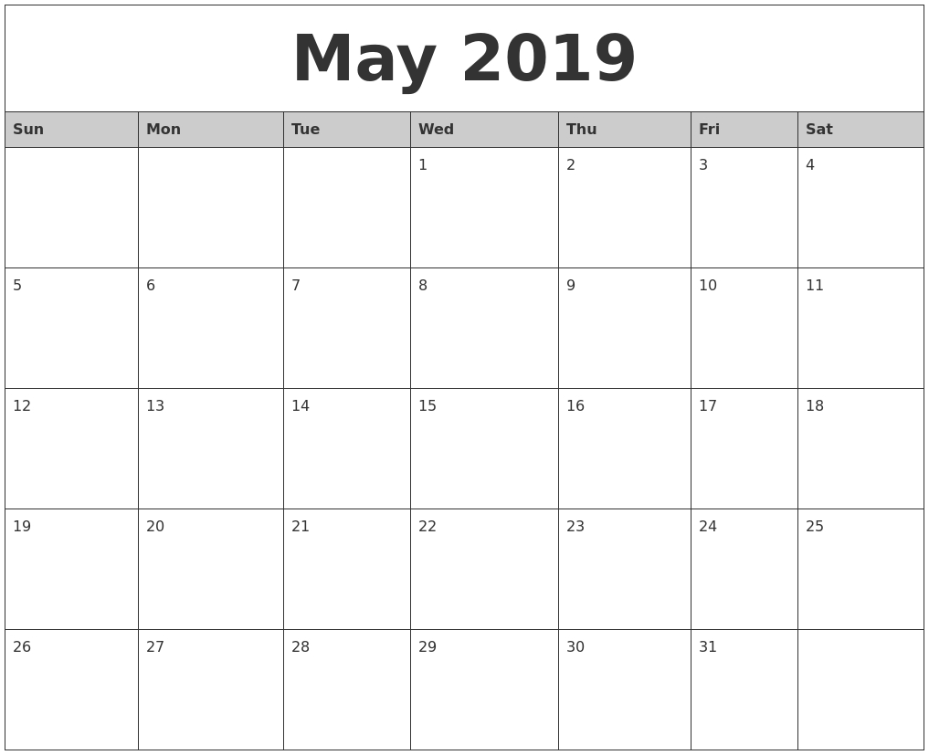 May 2019 Word Calendar – Free Printable Calendar 2018 Calendar 2019 Editable Word