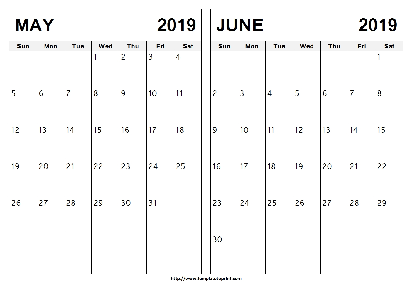 May-June-Calendar-2019-To-Print » Template To Print Calendar 2019 May June